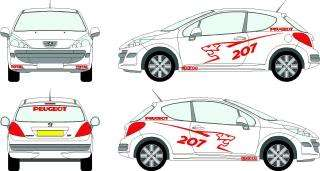 PEUGEOT GRAPHICS STICKERS DECAL KIT 106 206 107 207 307