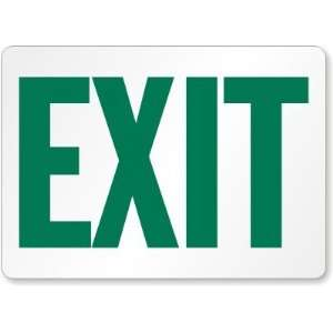 Exit (green on white) Aluminum Sign, 14 x 10 Office