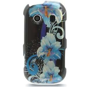 Crystal Hard faceplate Black with Blue FLowers Design