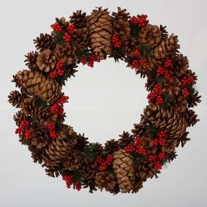 Pine Cone with Red Berries Artificial Christmas Wreath