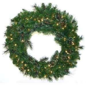 Artificial Prelit Christmas Wreath with 100 Frosted Lights Home