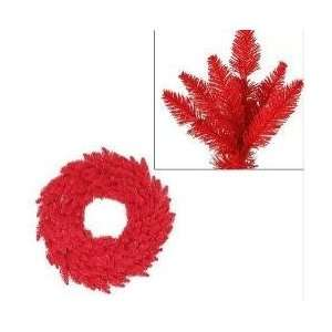 Lit Red Ashley Spruce Christmas Wreath   Red Lights