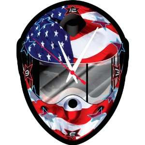 Racing Helmet with American Flag Graphic Clock