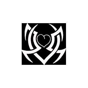 HRT (350) 6 white vinyl decal tribal design heart die cut
