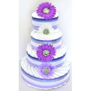4 Tier Precious Purple Diaper Cake