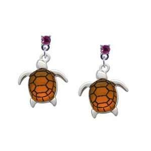 Turtle with Amber Resin Body Hot Pink Swarovski Post Charm Earrings