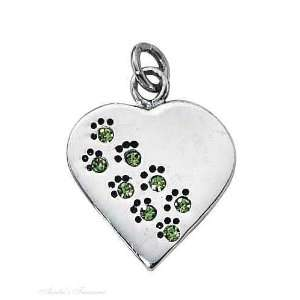 With Engraveable August Birthstone Dog Cat Paw Print Heart Charm Tag