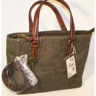 FOSSIL HANDBAGS, Fossil Coronado Embossed Leather Satchel (Olive Green