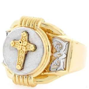 14K Two Tone Gold Religious Cross Round Fancy Mens Ring Jewelry