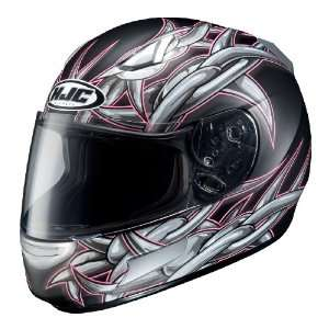 Full Face Motorcycle Helmet Flat Black/Pink/Silver Small Automotive