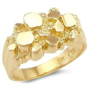 14k Solid Yellow Gold Ladies Mens Classic Nugget Ring Jewelry