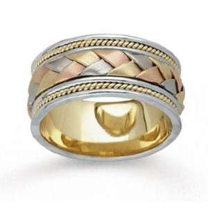 14k Tri Tone Gold Grand Weave Hand Carved Wedding Band Jewelry