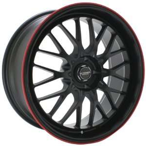 Kyowa Racing 628 Evolve Flat Black and Red Stripe Wheel with Painted
