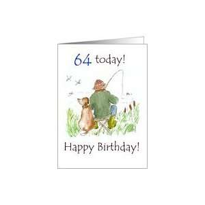 64th Birthday Card with a Man Fishing Card Toys & Games