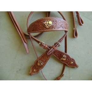 Fully Engraved Silver Gold Heart Western Show Saddle Bridle Headstall