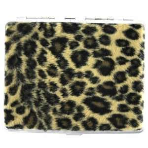 Leopard Print Ladies Cigarette Hard Case Metal Holder
