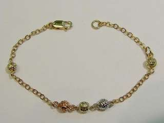 New 14k Gold Tri Color Beads Baby Bracelet #3 Free Ship