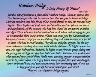 Rainbow Bridge Poem   5x7 Personalized Pet Loss Memorial Print Sku