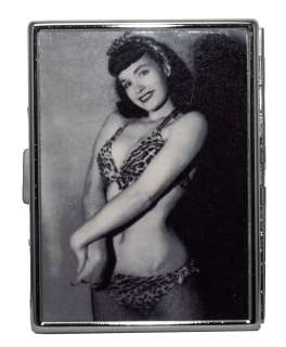 Bettie Page Burlesque Pin Up Model Leopard Bikini Reflective Metal ID