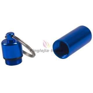 Mini Blue Aluminum Pill Box Case Bottle Holder Container Keychain H